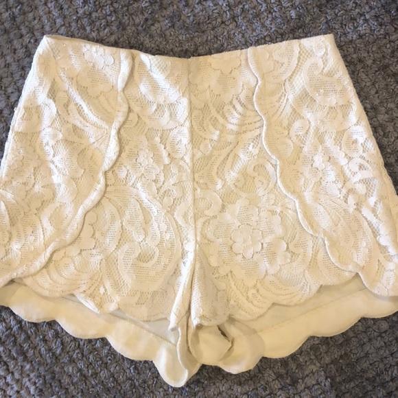 Lush Pants - Lush Cream Lace Shorts